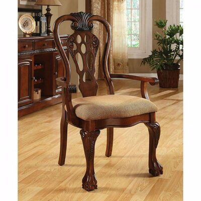 Bartonville Traditional Solid Wood Arm Chair