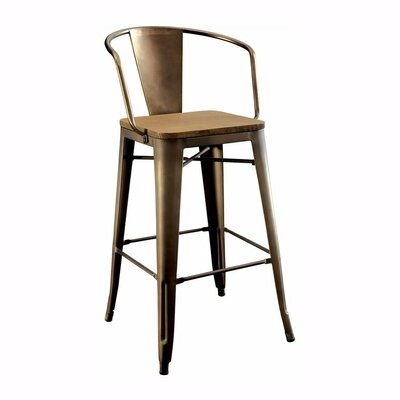 Carlo Industrial Counter Solid Wood Dining Chair
