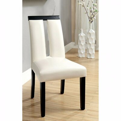 Ballintoy Contemporary Solid Wood Dining Chair Upholstery Color: Black