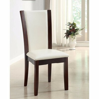 Manhattan Contemporary Upholstered Dining Chair Upholstery Color: White