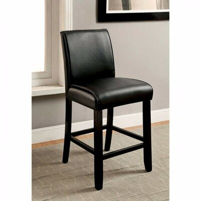 Janeta Solid Wood Dining Chair Upholstery Color: Black