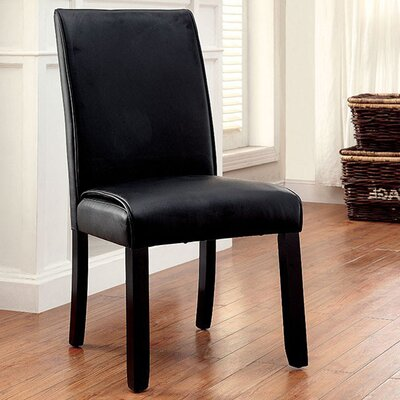 Janeta Contemporary Solid Wood Dining Chair Upholstery Color: Black