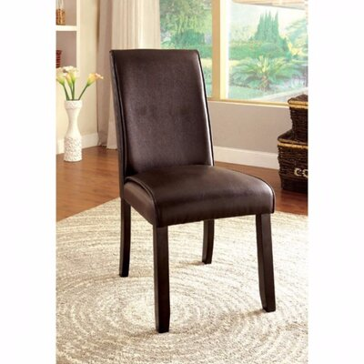 Janeta Contemporary Solid Wood Dining Chair Upholstery Color: Dark Walnut