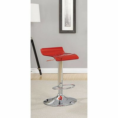 Hesiod Adjustable Height Swivel Bar Stool Color: Red