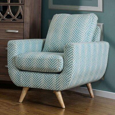 Huguenot Midcentury Modern Armchair Upholstery: Blue/White