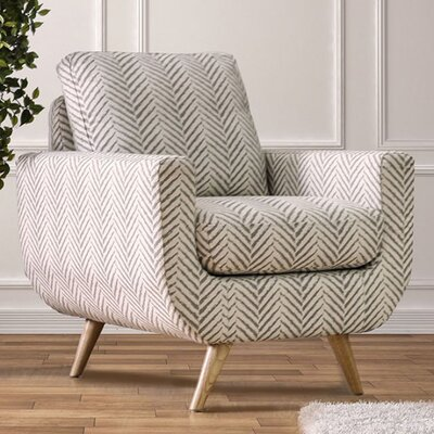 Huguenot Midcentury Modern Armchair Upholstery: Gray/White