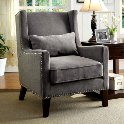 Raymundo Transitional Wingback Chair Upholstery: Gray