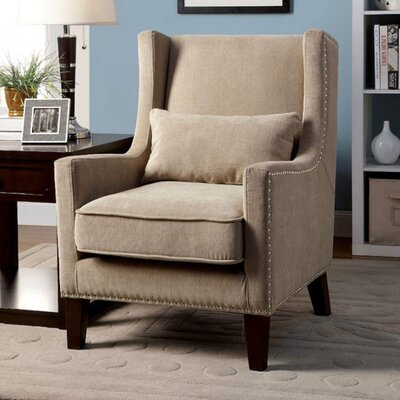 Raymundo Transitional Wingback Chair Upholstery: Ivory