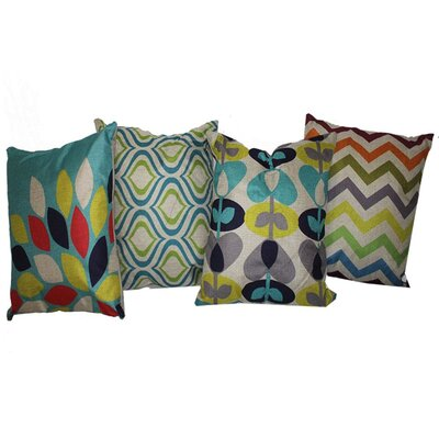 Pinnock Mesmerizing Assorted 4 Piece 100% Cotton Throw Pillow