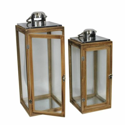 Lovable 2 Piece Wood Lantern Set