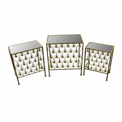 Beachwood Appealing Metal 3 Piece Nesting Tables with Hanging Bells