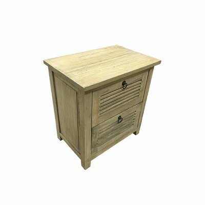 Barrville Durable 2 Drawer Wooden Nightstand