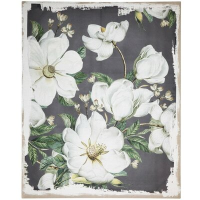 'Bold Flowers' Acrylic Panting Print on Wood ALTH5298 44035403