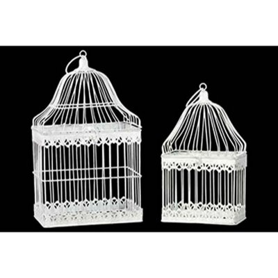 Antique Metal 2 Piece Bird Cage Set with Ring Hanger BRU-60190