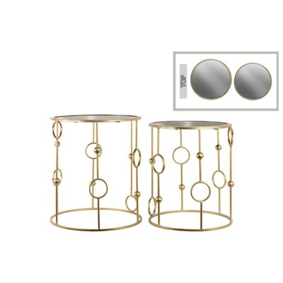 Rivera Round 2 Pieces Nesting Tables with Mirror Top