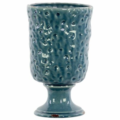 Greenport Attractive Ceramic Table Vase with Hammered Design Size: 10.5