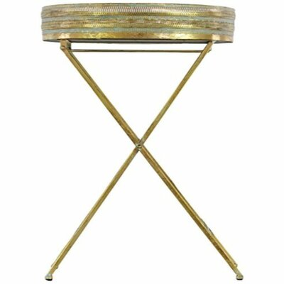 Rivet Metal Table with Mirror Surface Pierce