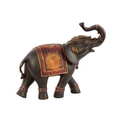 """Jeffries Loudly Trumpeting Vibrant Walking Indian Elephant Figurine Size: 10.25"""" H x 4.25"""" W x 12.25"""" D, Orientation: Right BLMK1587 43617013"""
