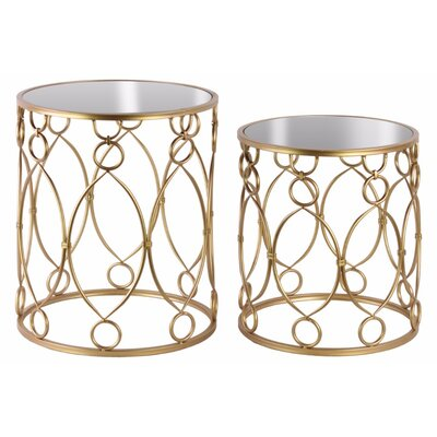 Nannore 2 Pieces Nesting Tables with Mirror Top, Ring and Loop Design