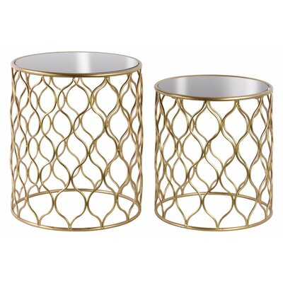 Richelle Round 2 Pieces Nesting Tables with Intersecting Waves Design