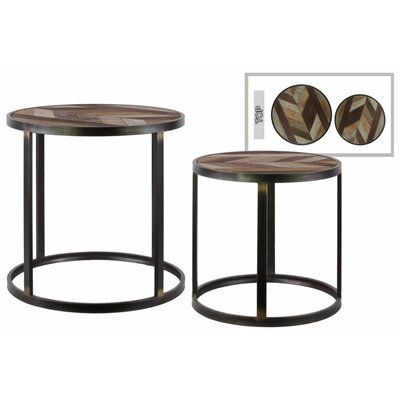 Annable 2 Pieces Nesting Tables with Wood Parquet Design Top