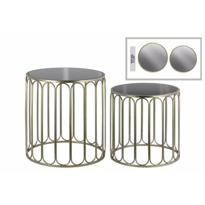 Abdera 2 Pieces Nesting Tables with Mirror Top and Linear Design