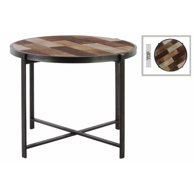 Plaisance End Table with Wood Parquet Design Crises and Crossed Legs