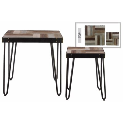 Parks Square 2 Pieces Nesting Tables with 4 Hairpin Legs
