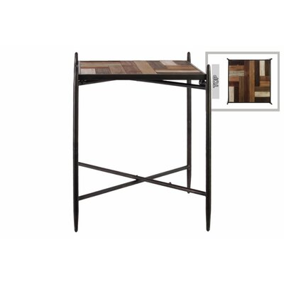 Trivaita Square End Table with Wood Parquet Design Top