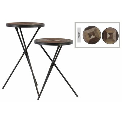 Corla Round 2 Piece End Table Set with Wood Parquet Design Top