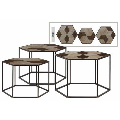 Heide Hexa 3 Pieces Nesting Tables with Wood Parquet Design Top