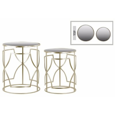 Abdallah Embrace 2 Pieces Nesting Tables with Mirror Top