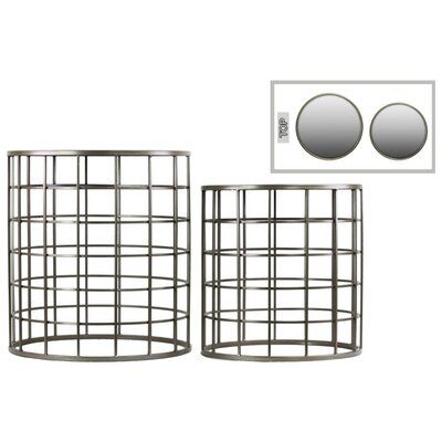 Klaus Round Metal 2 Pieces Nesting Tables with Mirror Top