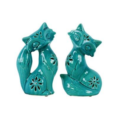 Chesterton Embossed Design Sitting Fox 2 Piece Figurine Set Size: 10.75
