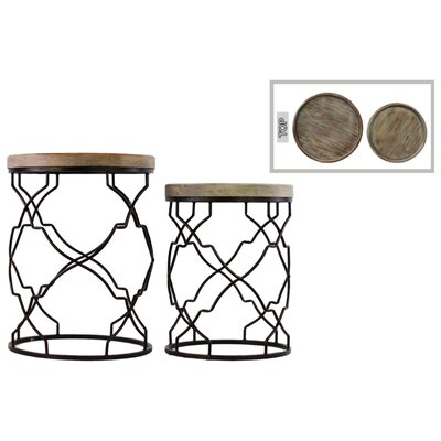 Pernell 2 Pieces Nesting Tables with Recessed Wood Top