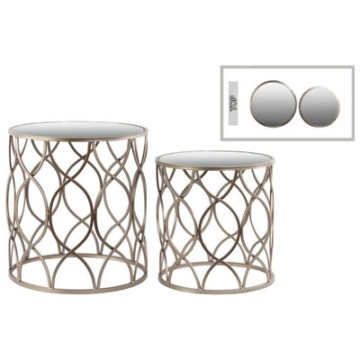 Abrahams Round Wave Metal 2 Pieces Nesting Tables with Mirror Top