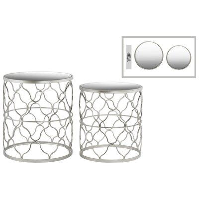 Abreu Round 2 Pieces Nesting Tables with Mirror Top Quatrefoil Lattice Design