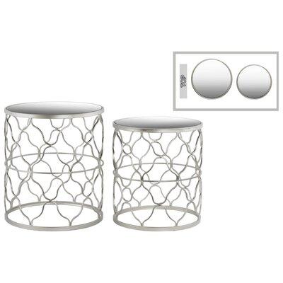 Abreu Round 2 Pieces Nesting Tables with Mirror Top Quatrefoil Lattice Design
