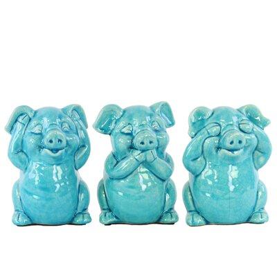 Lake Macquarie Colorful Standing Pig No Evil 3 Piece Figurine Set Color: Blue