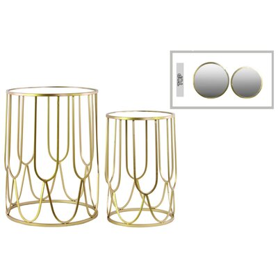 Friedrichs Sparkly Round Metal 2 Piece Nesting Tables with Mirror Top Color: Gold