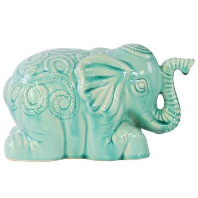 Jarrett Laying Elephant Figurine with Embossed Swirl Design Color: Light Blue BLMK1584 43617010
