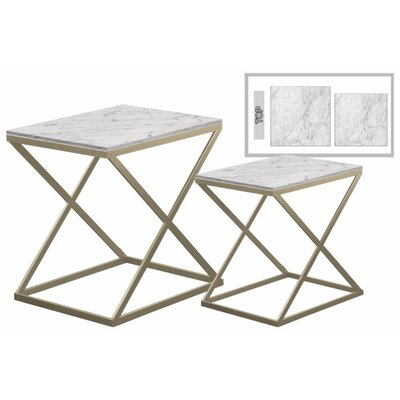 Delphine� Rectangular Metal 2 Pieces Nesting Tables with Marble Top Color: Gold