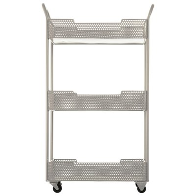 Loreto Splendid Metal Tray Bar Cart with Mesh Design Color: Gray