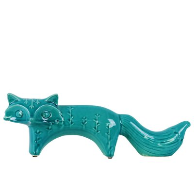 Maner Curious Standing Fox Figurine with Embossed Design Size: 4.5
