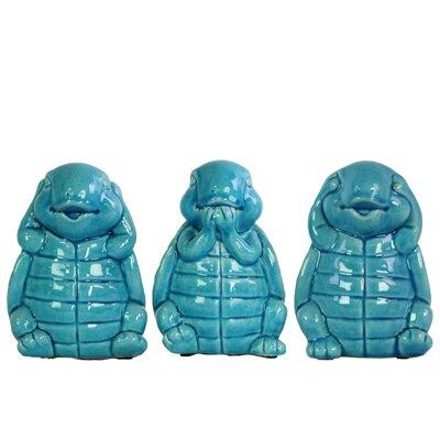 Desilva Happy Standing Turtle No Evil 3 Piece Figurine Set Color: Blue LDER8570 43616517