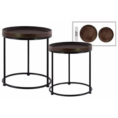 Dingyue Round Wood 2 Pieces Nesting Tables with 3 Metal Legs Color: Brown