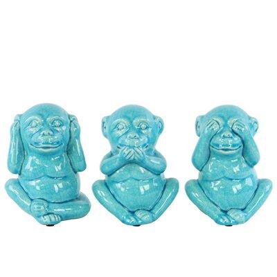 Deskins Laughing Monkey No Evil 3 Piece Figurine Set Color: Blue