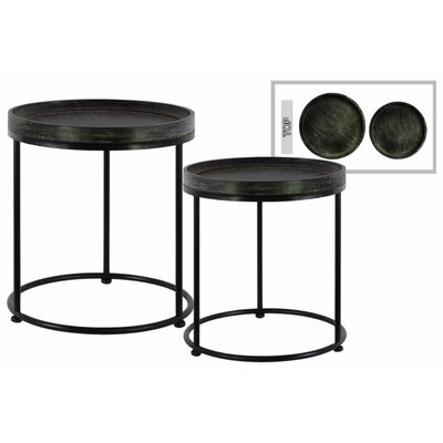 Dingyue Round Wood 2 Pieces Nesting Tables with 3 Metal Legs Color: Black