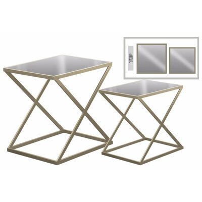 Eleni Rectangular Metal 2 Pieces Nesting Tables with Mirror Top Color: Gold