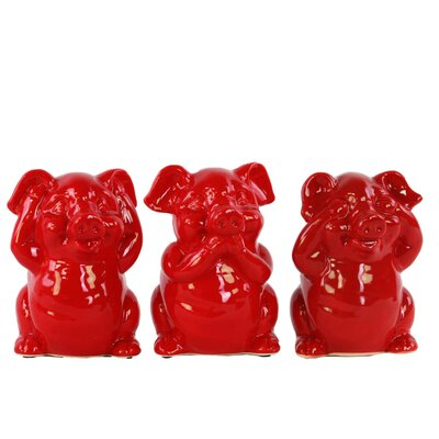 Lake Macquarie Colorful Standing Pig No Evil 3 Piece Figurine Set Color: Red